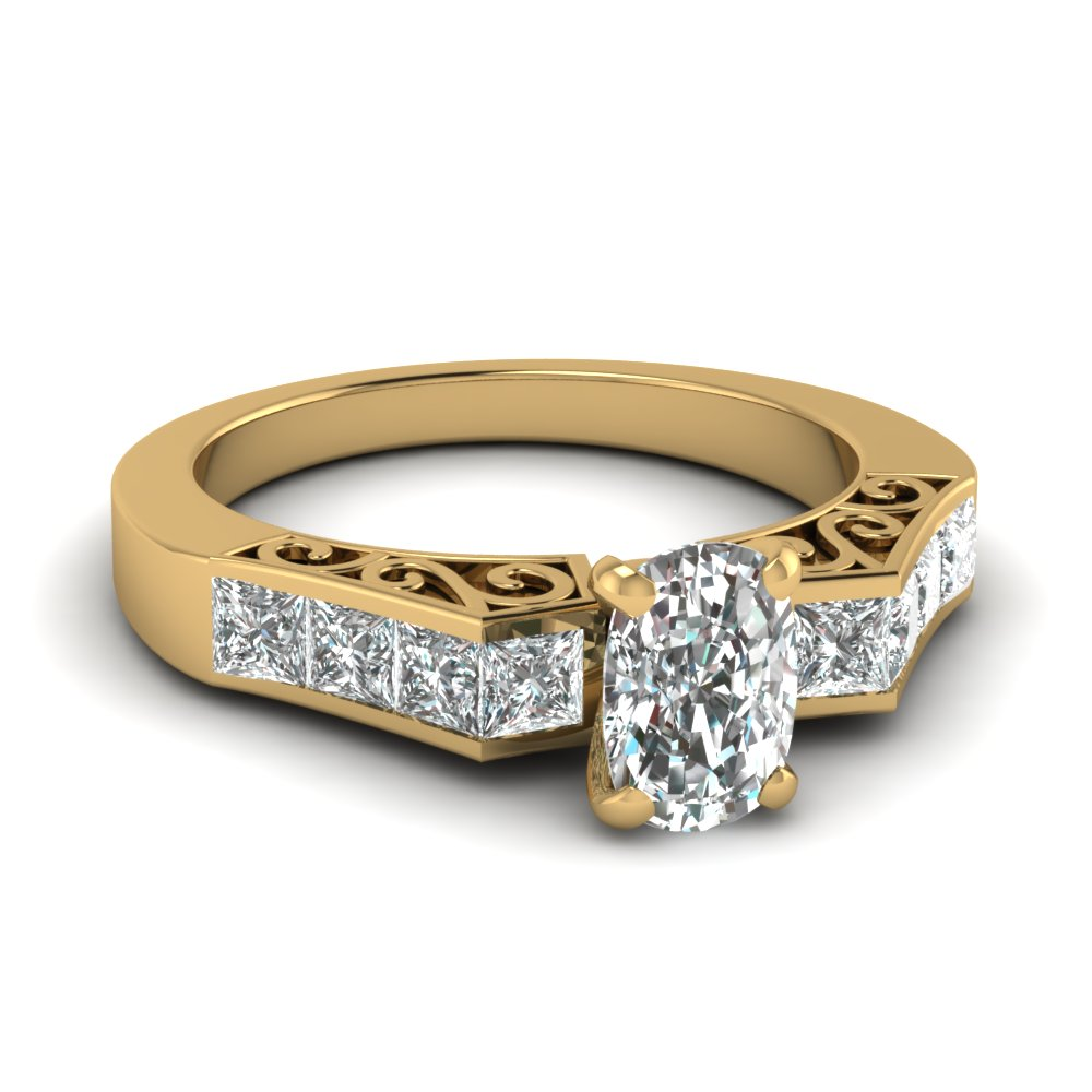 filigree shank 1.50 ct. cushion diamond engagement ring in 14K yellow gold FDENS151CUR NL YG