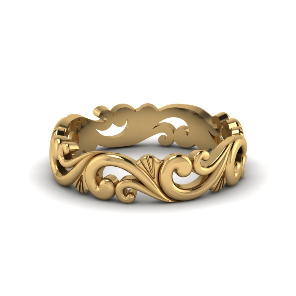 Filigree Simple Gold Wedding Band For Women In 18K Yellow Gold