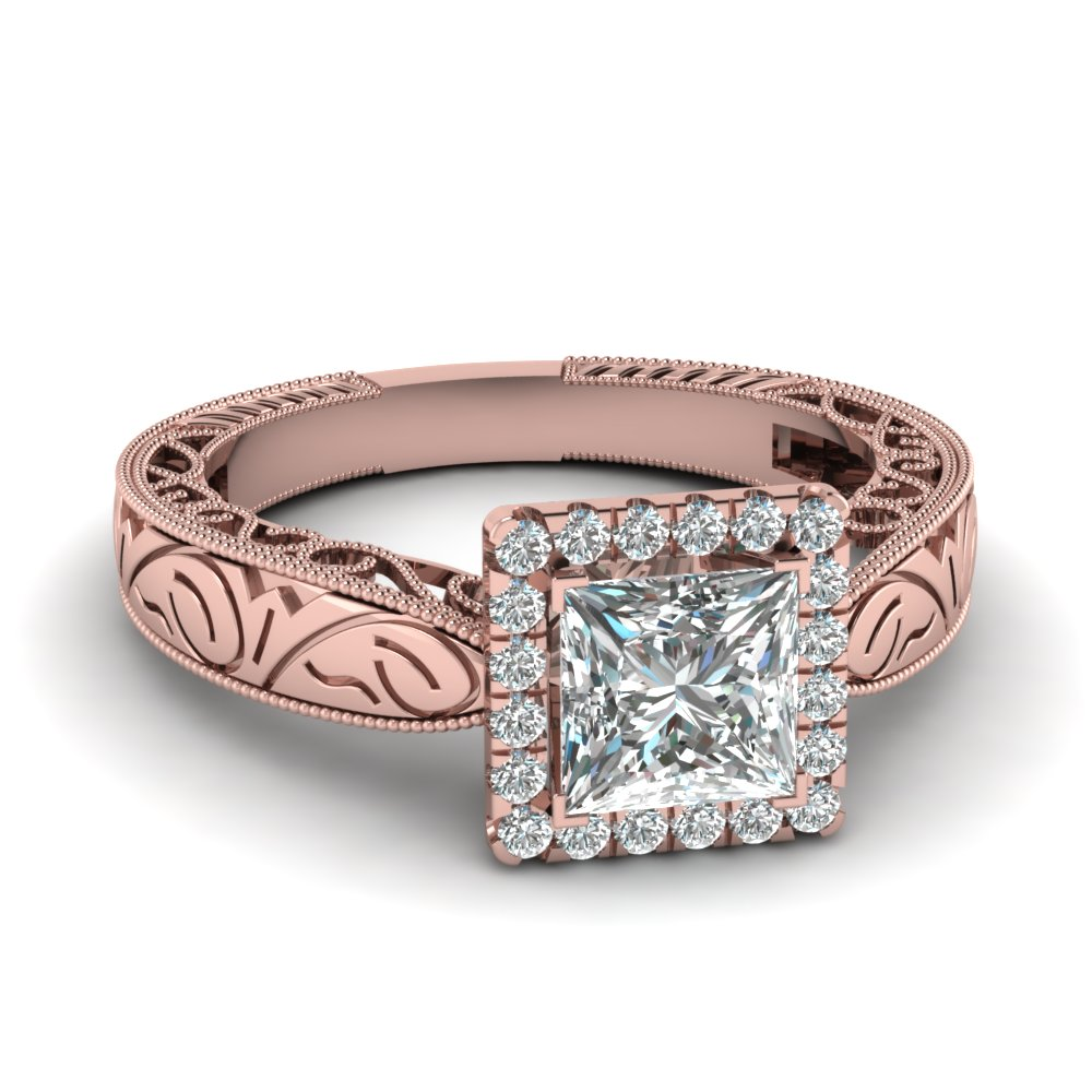 Filigree Square Halo Round Diamond Vintage Engagement Ring In 14K Rose Gold