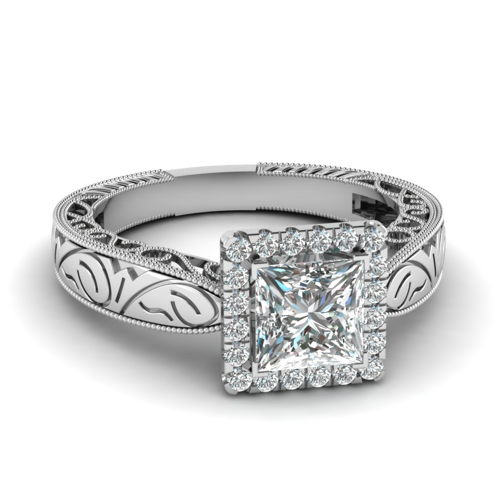 Filigree Halo Square Engagement Ring