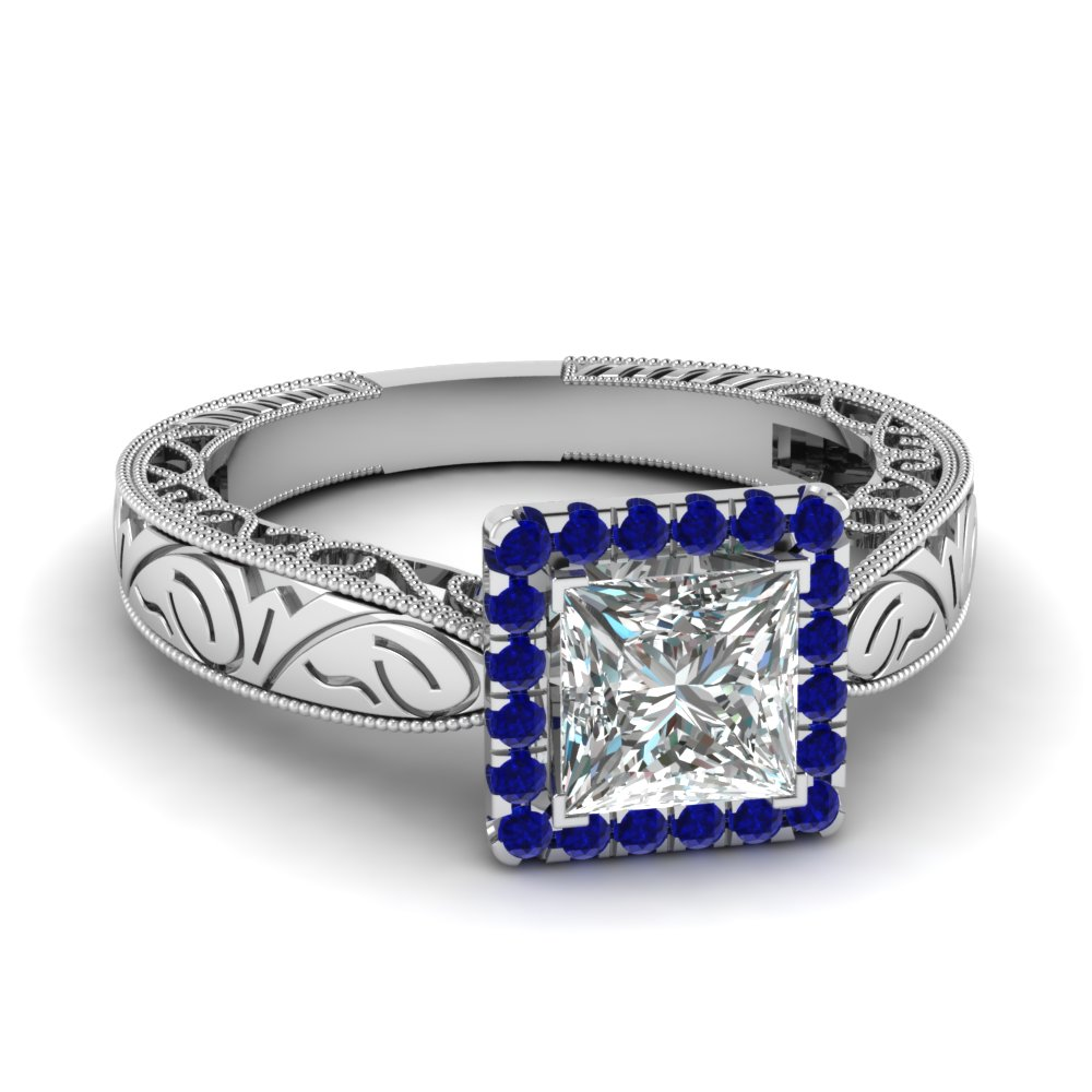 handmade filigree halo engagement ring with sapphire in FD69833PRRGSABL NL WG