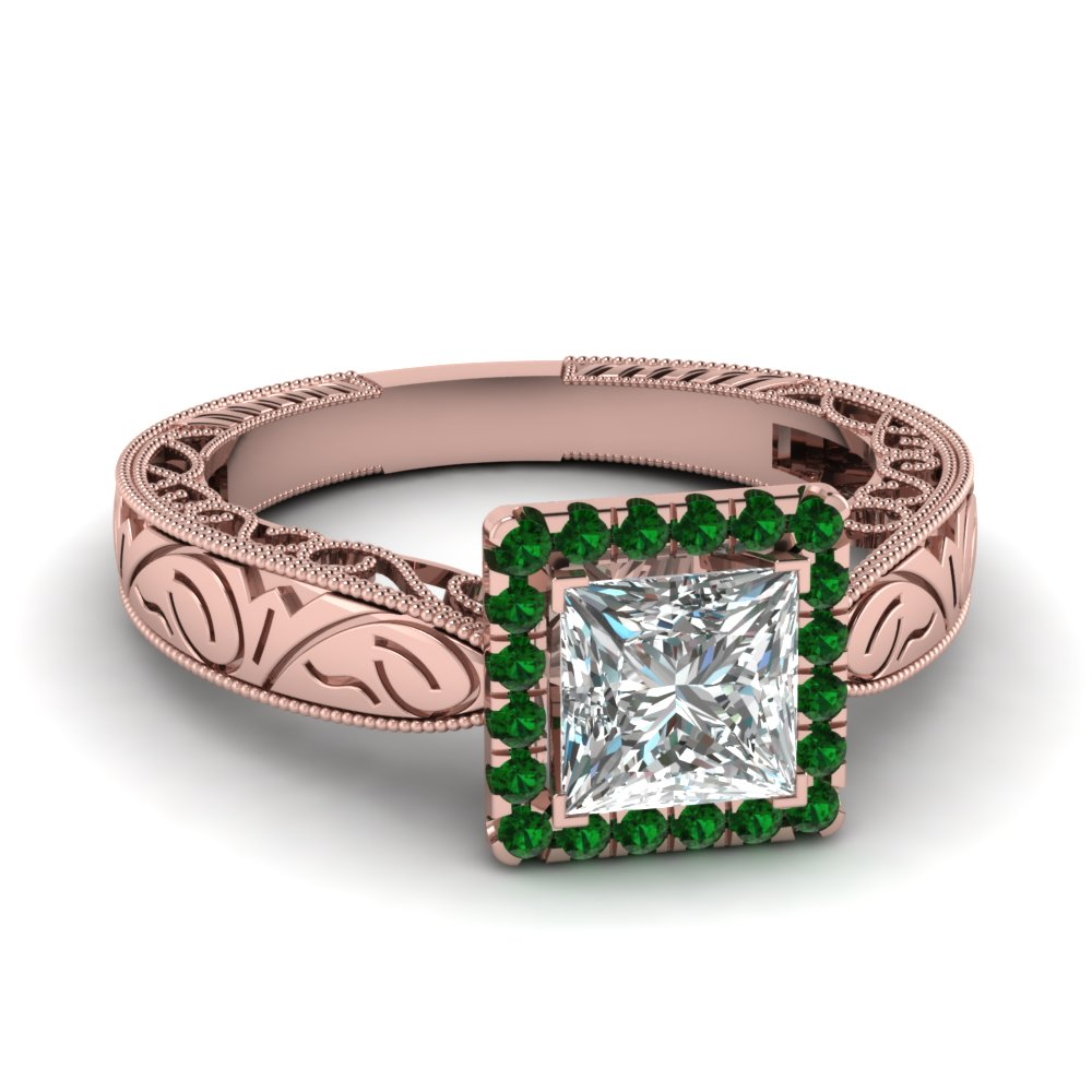 Filigree Vintage Emerald Ring