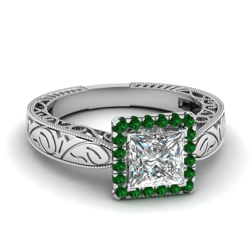 handmade filigree halo engagement ring with emerald in FD69833PRRGEMGR NL WG