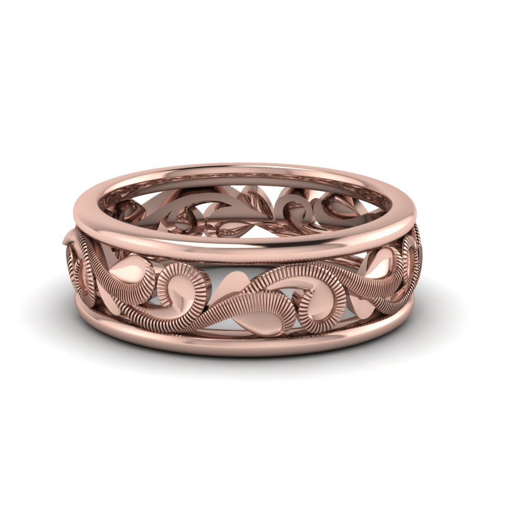 filigree two tone mens wide wedding band in 14K rose gold FD50060 NL RG
