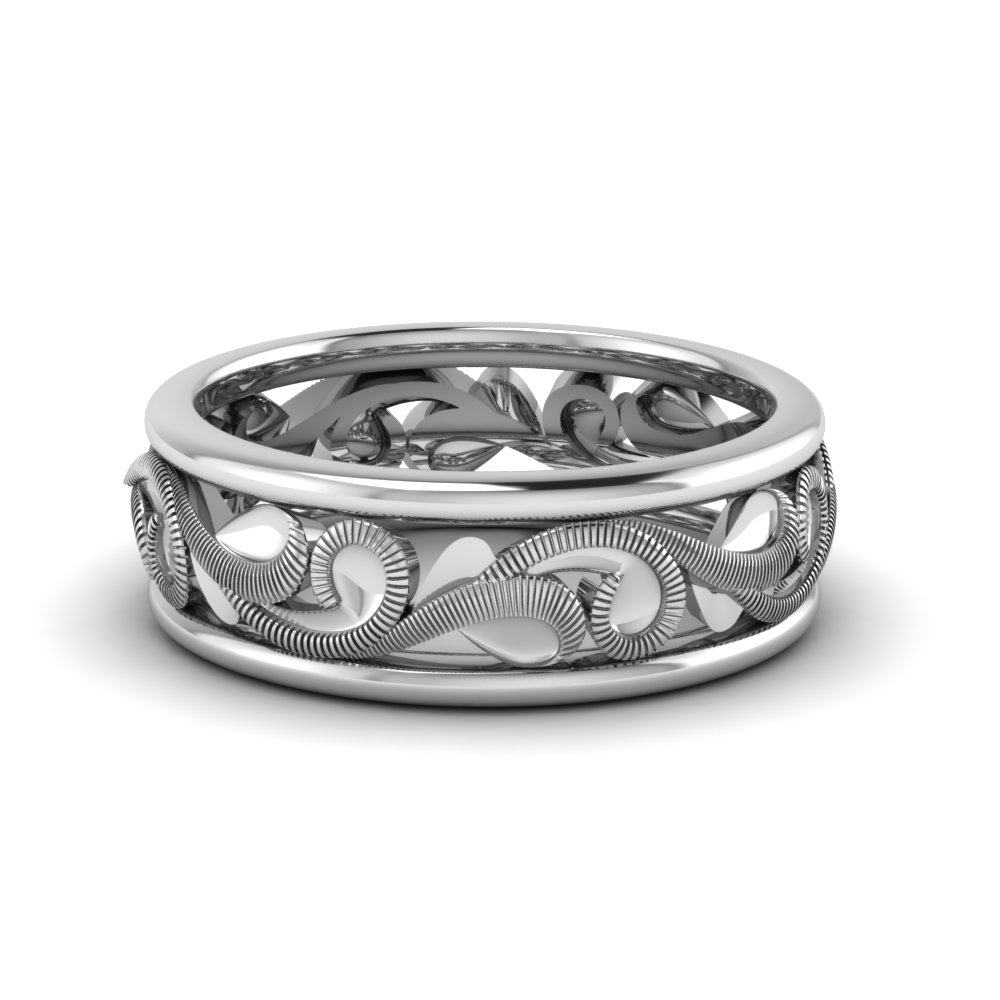 Filigree 14k White Gold Mens Wedding Band