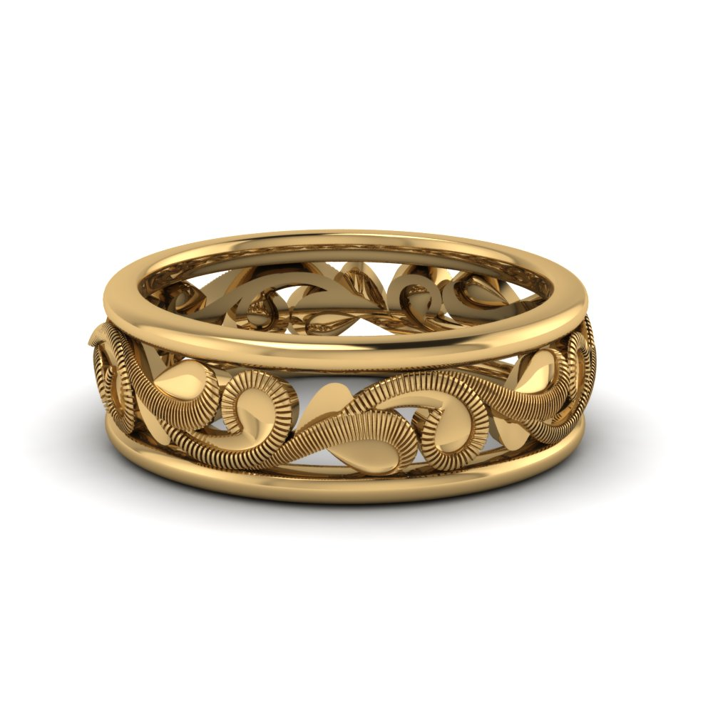 Filigree Eternity Wedding Band In 18k Yellow Gold Fd60050b Nl Yg