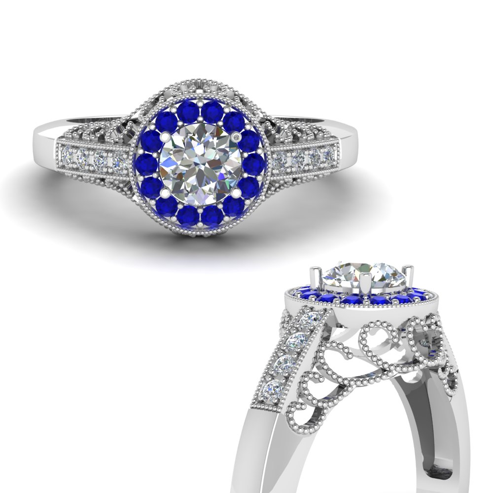 filigree victorian halo diamond engagement ring with sapphire in FD65559RORGSABLANGLE3 NL WG