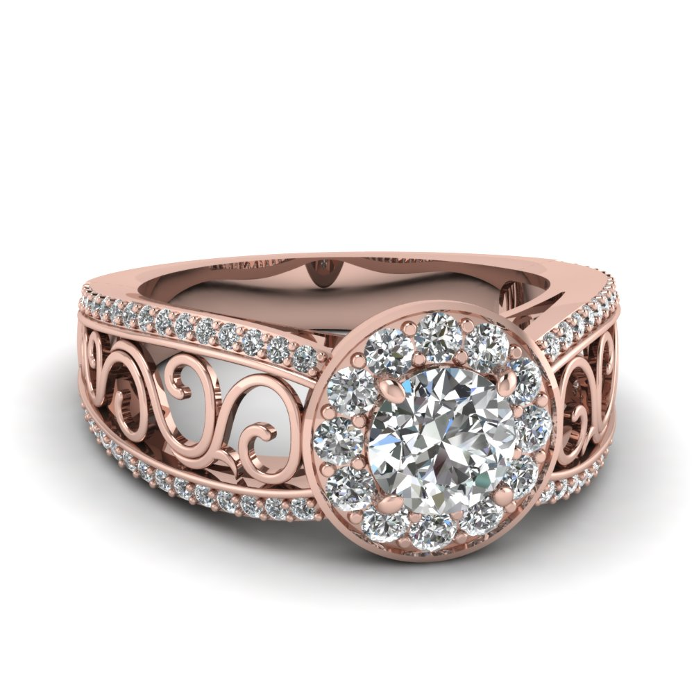 Filigree Vintage Style Halo Split Shank Diamond Engagement Ring In 18k Rose Gold Fascinating