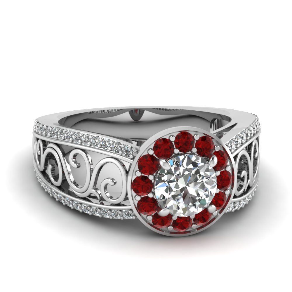 Filigree Round Cut Halo Diamond & Ruby Ring