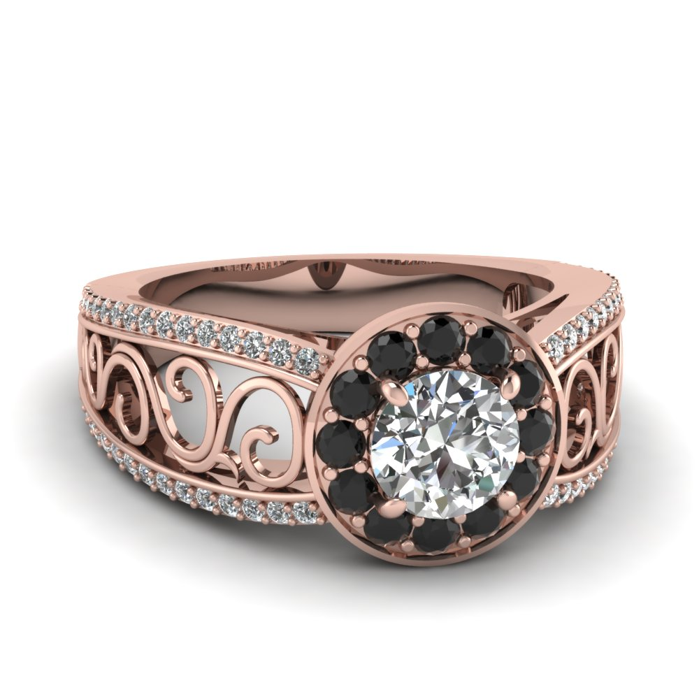 Filigree Black Diamond Split Shank Ring