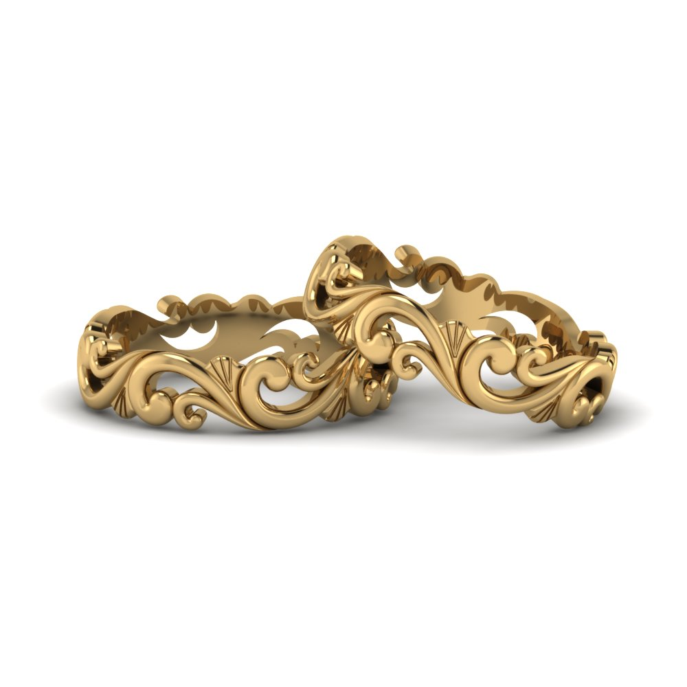 Filigree Wedding Bands For Lesbian Couple In 14K Yellow Gold