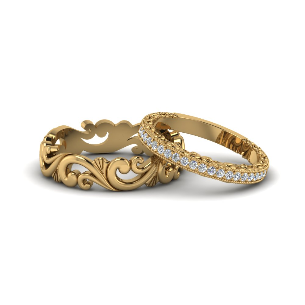 filigree wedding rings his and hers matching sets in 14k yellow