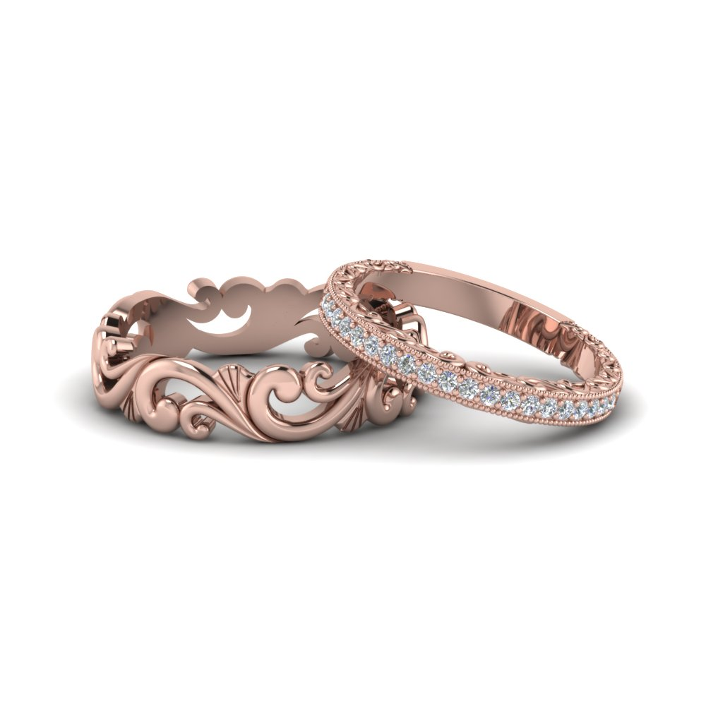 Filigree Wedding Rings His And Hers Matching Sets In 18k Rose Gold Fd8167b Nl Rg