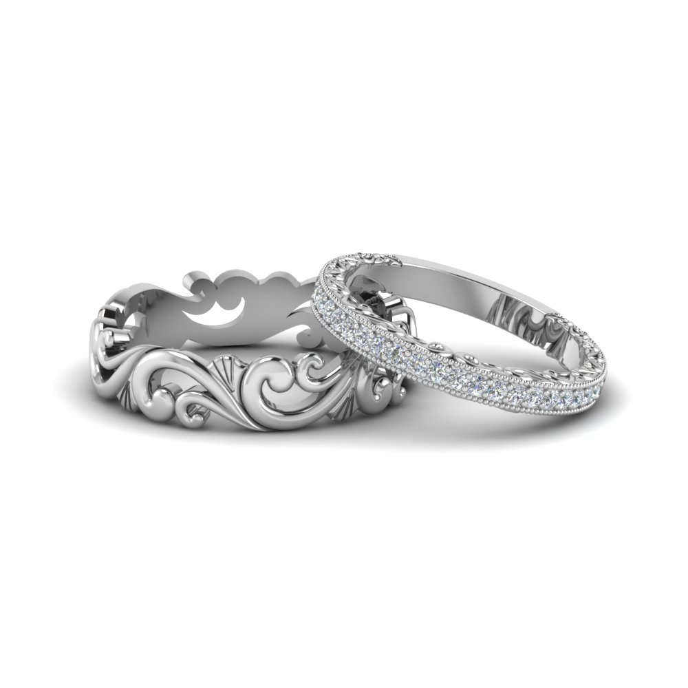 Filigree Wedding Rings His And Hers Matching Sets In 18k White Gold Fd8167b Nl Wg