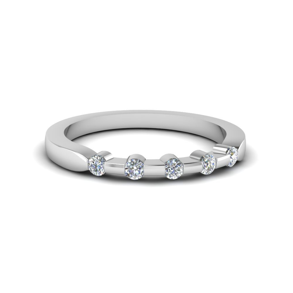 Bar Set Diamond White Gold Wedding Band