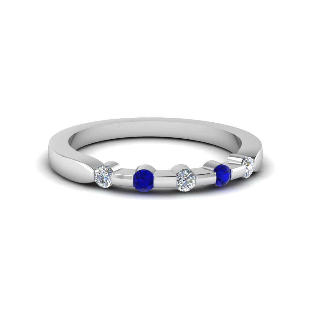 five stone anniversary band for her with sapphire in 14K white gold FDENS3063BGSABL NL WG 30