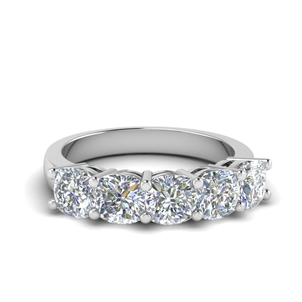 2 Carat Cushion Cut Five Stone Band