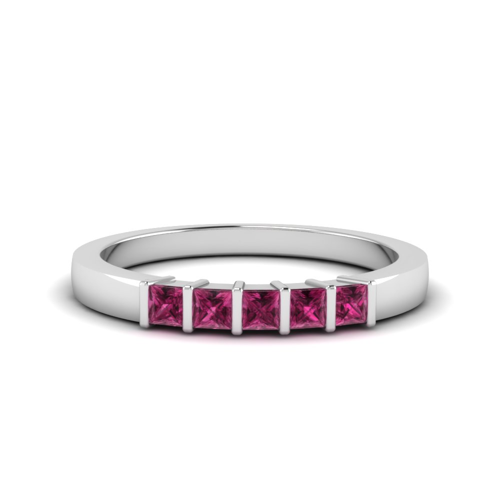 White Gold Pink Sapphire Five Stone Wedding Band
