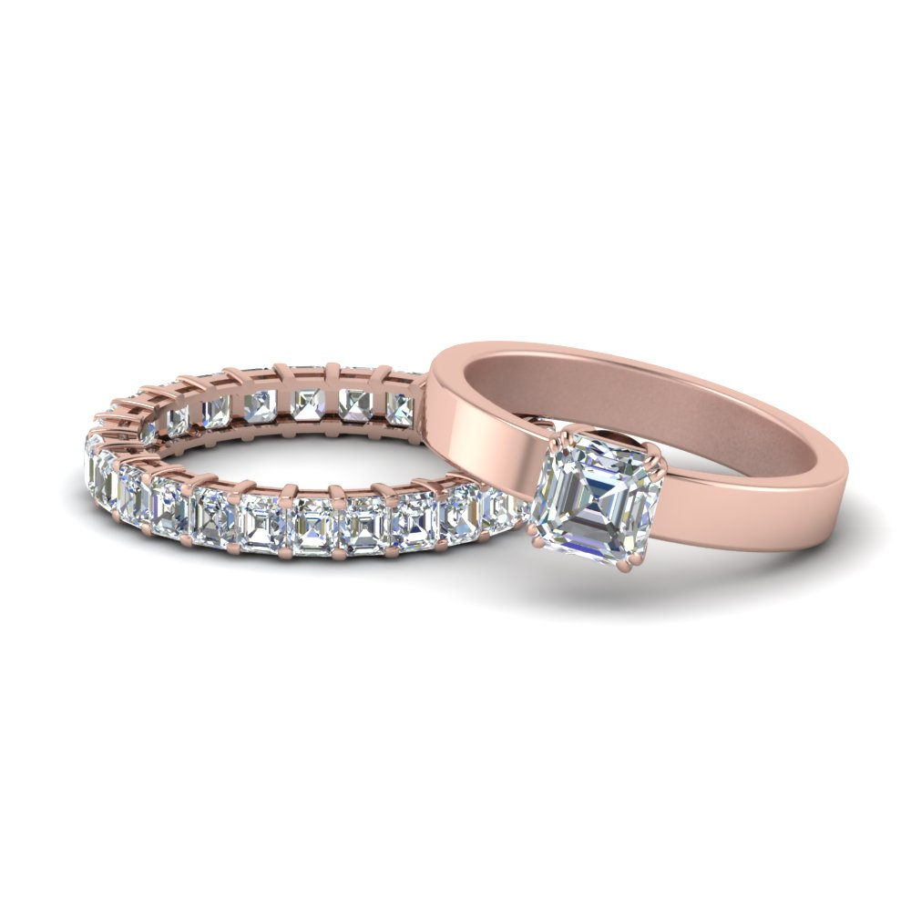 Flat Asscher Diamond Wedding Ring Set