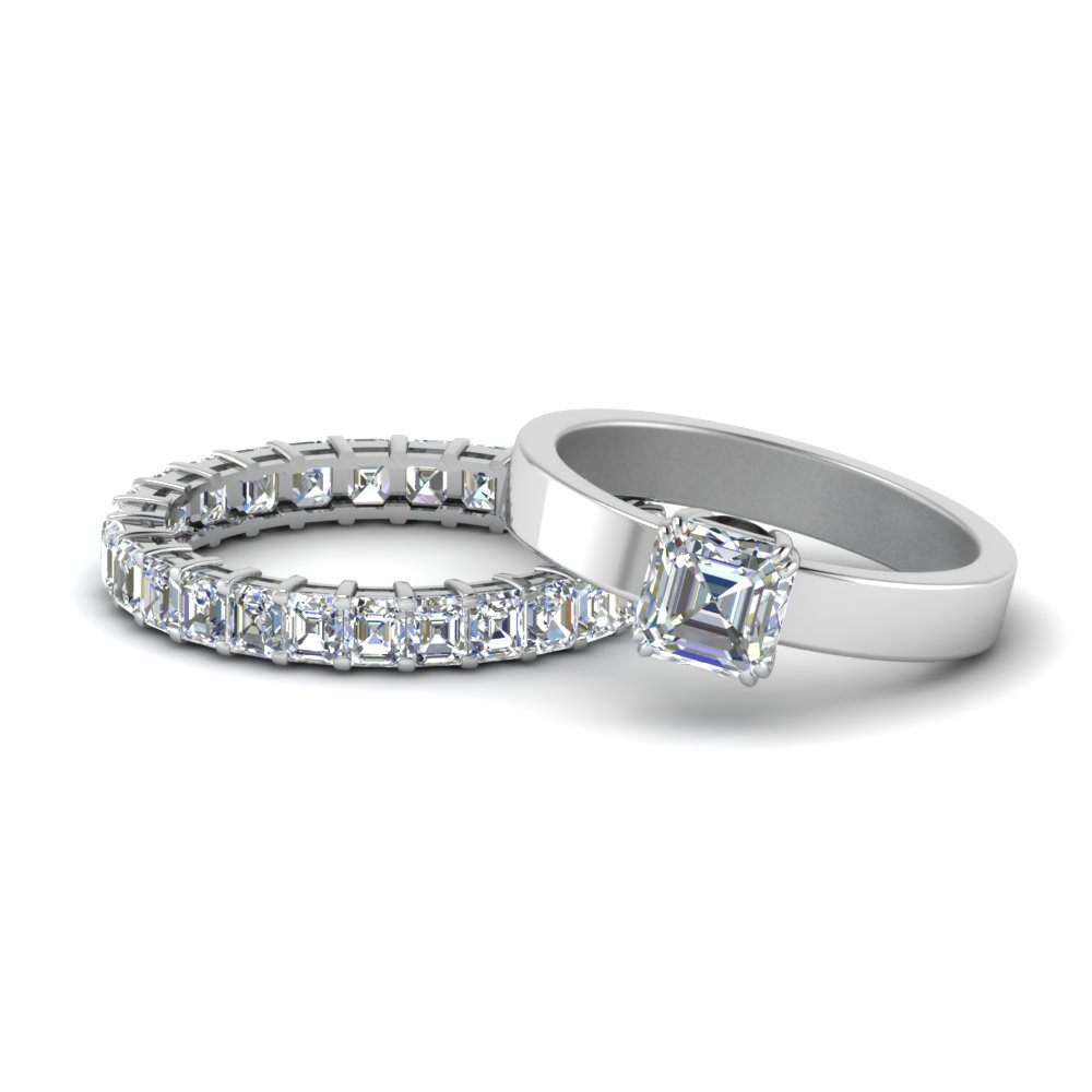 14K White Gold Asscher Cut Wedding Set