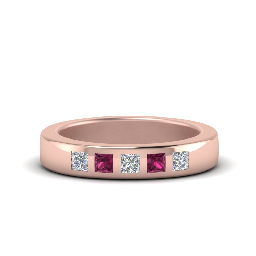 4 Stone Unique Band In 14K Rose Gold