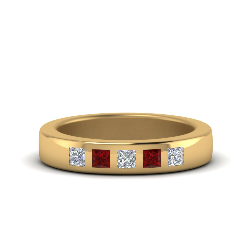 18K Yellow Gold Ruby Flat Flush Set Band