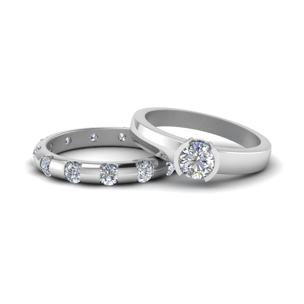14K White Gold Bezel Diamond Ring Set