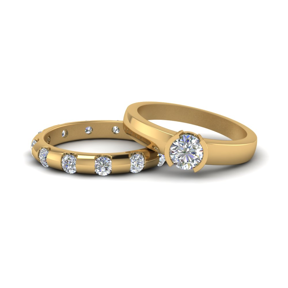 14K Yellow Gold Classic Diamond Bridal Set