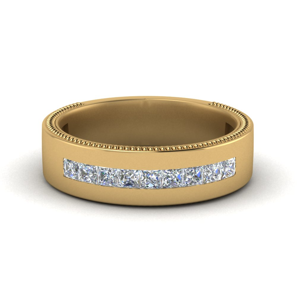Flat Channel Diamond Wedding Band