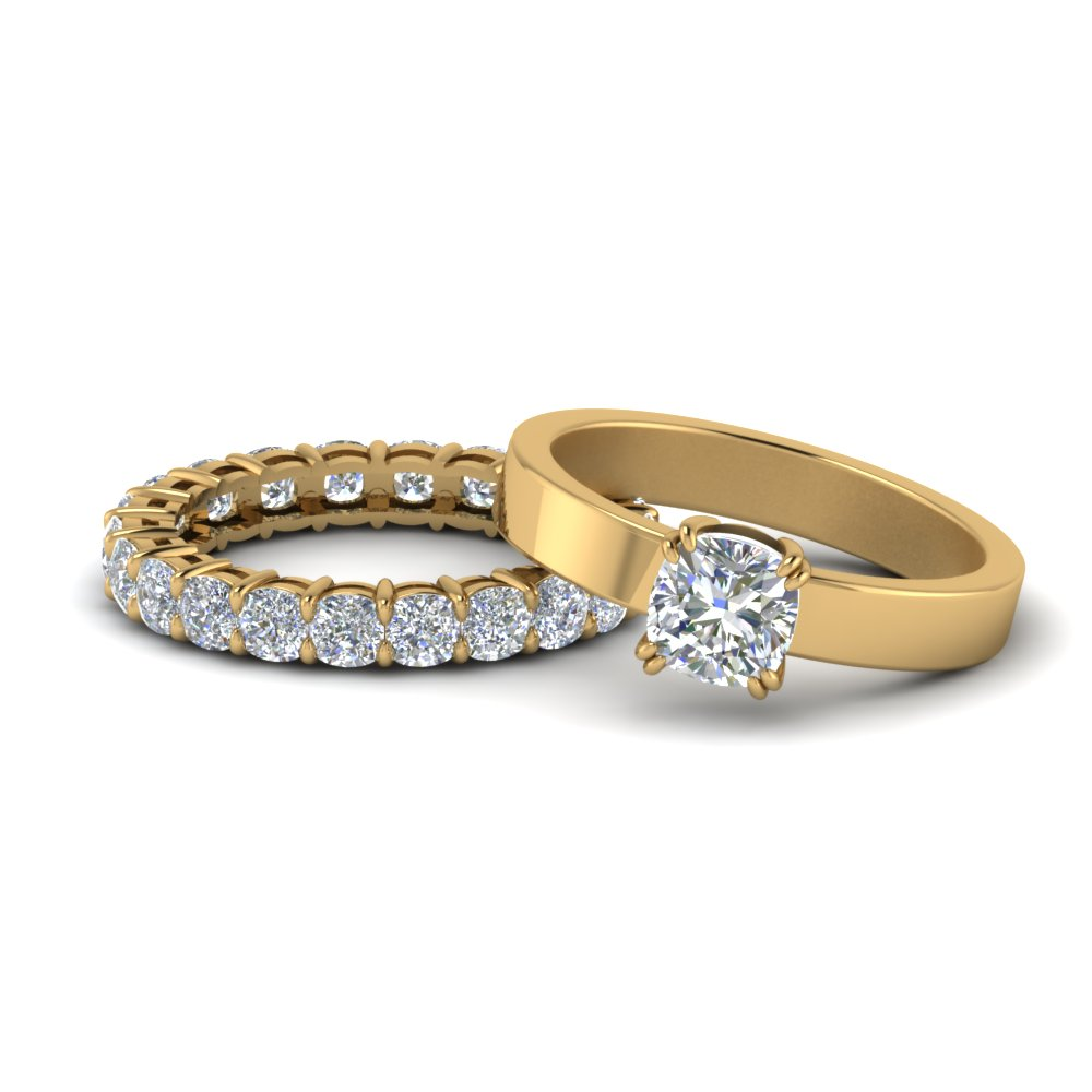 Flat Diamond Solitaire Ring Set