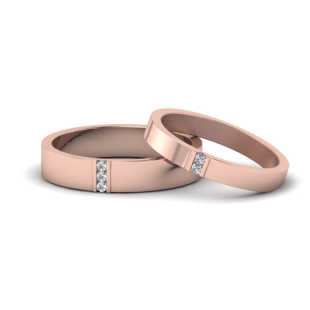 Flat Diamond Matching Wedding Rings