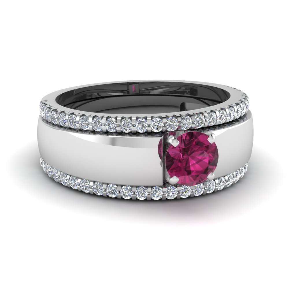 flat solitaire pink sapphire trio wedding ring set in FD8023TRORGPS NL WG.jpg