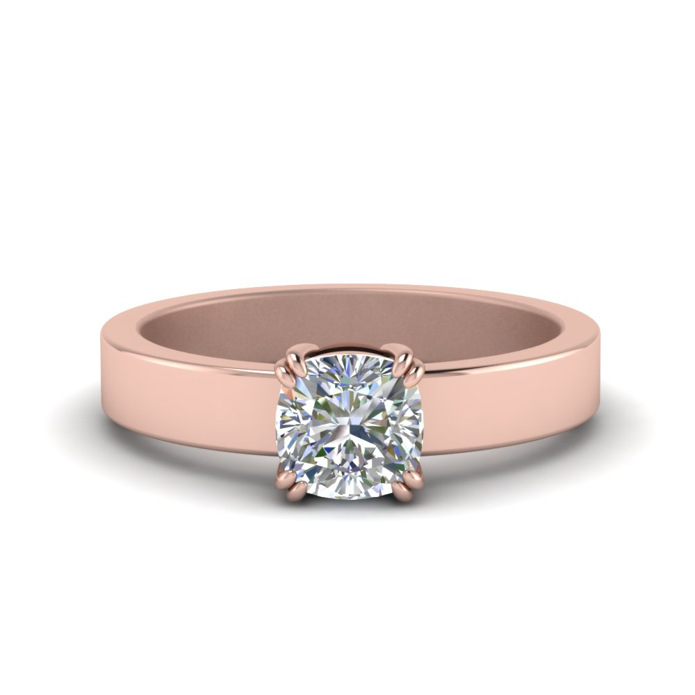princess band solitaire ring flat engagement diamond adn products cut