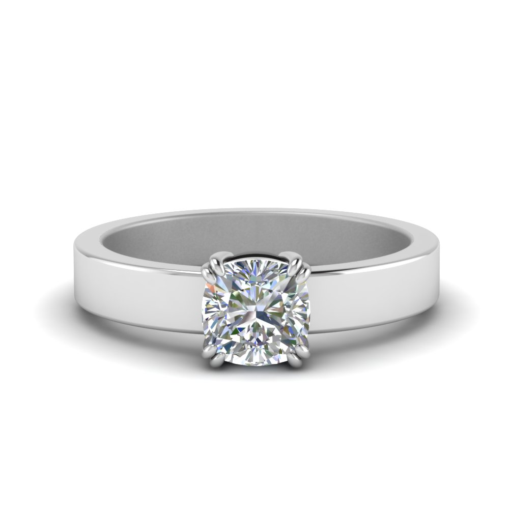 flat solitaire cushion cut diamond engagement ring in FD8706CU NL WG