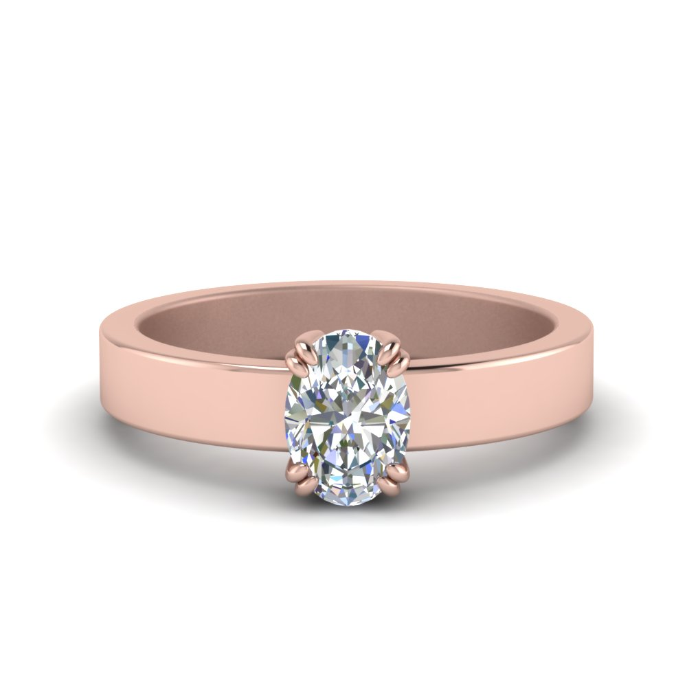 Flat Solitaire Engagement Ring