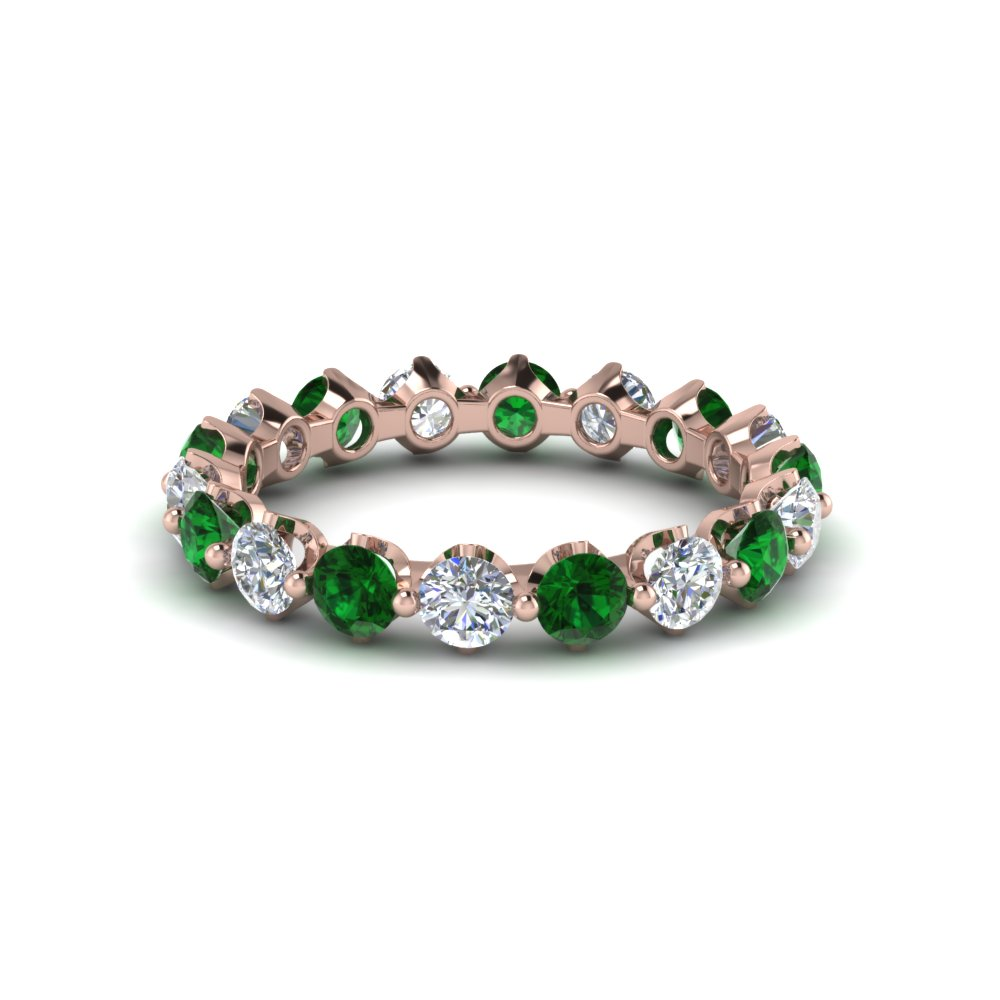 Rose Gold Emerald Eternity Bands
