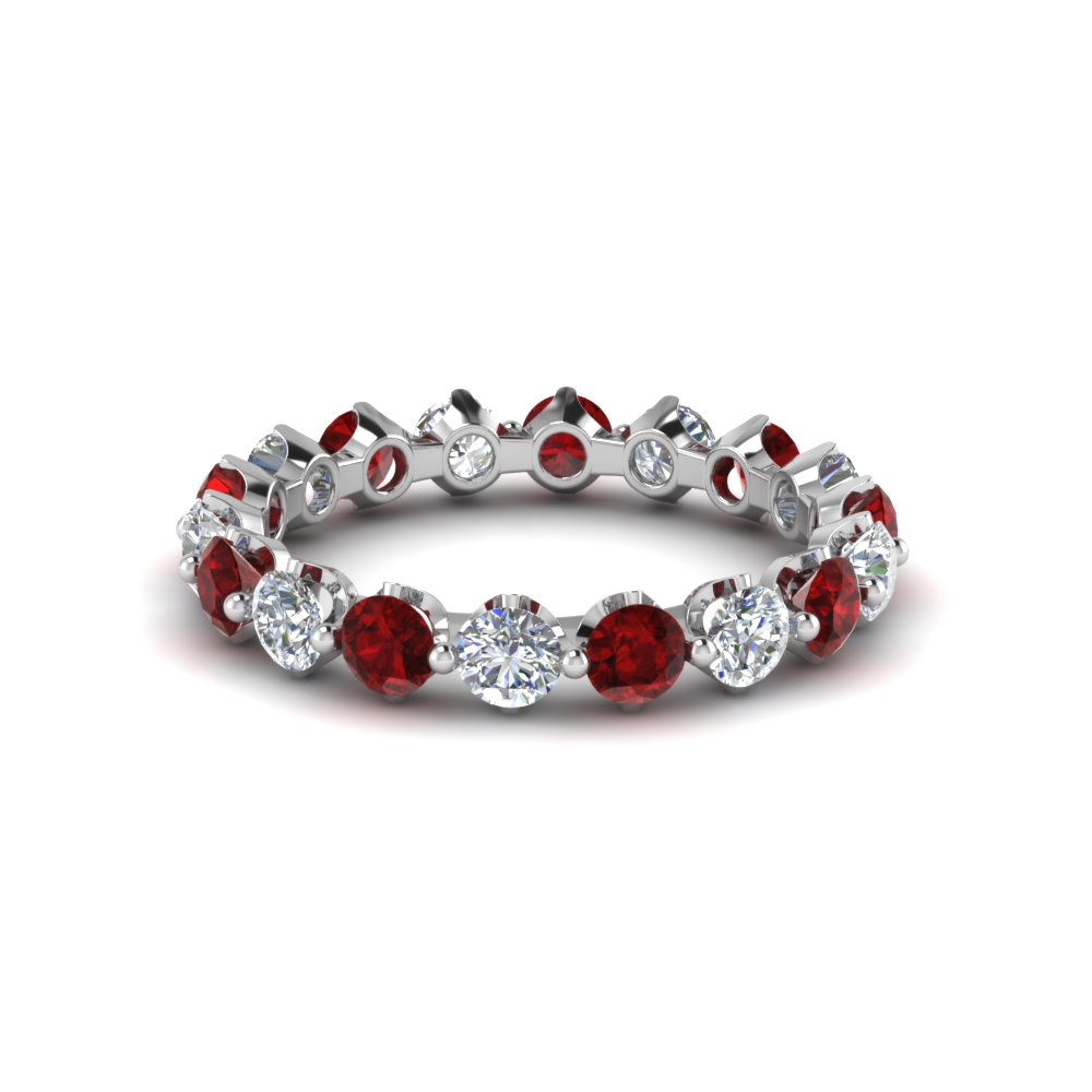 bands anniversary women in white thin diamond band with gold nl ruby wg jewelry her gifts for red gift