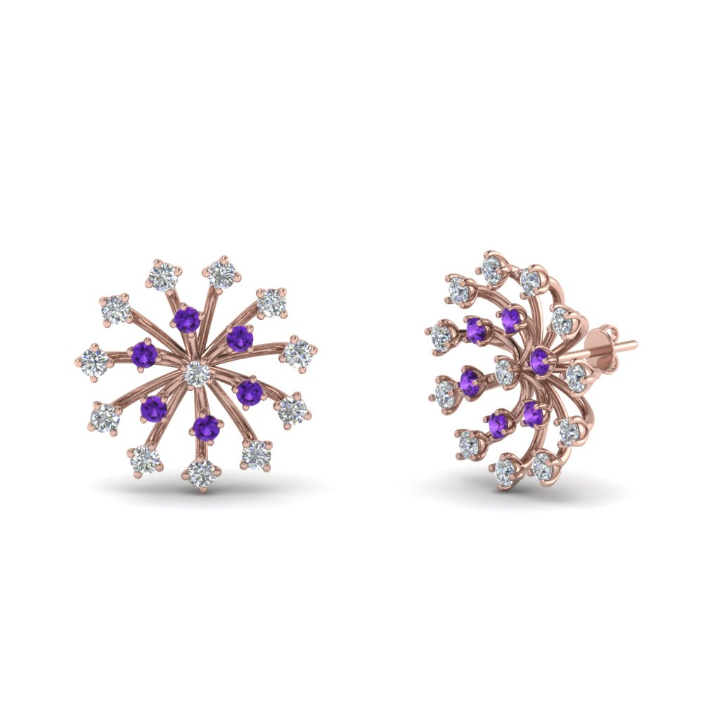 Floating Purple Topaz Stud Earring