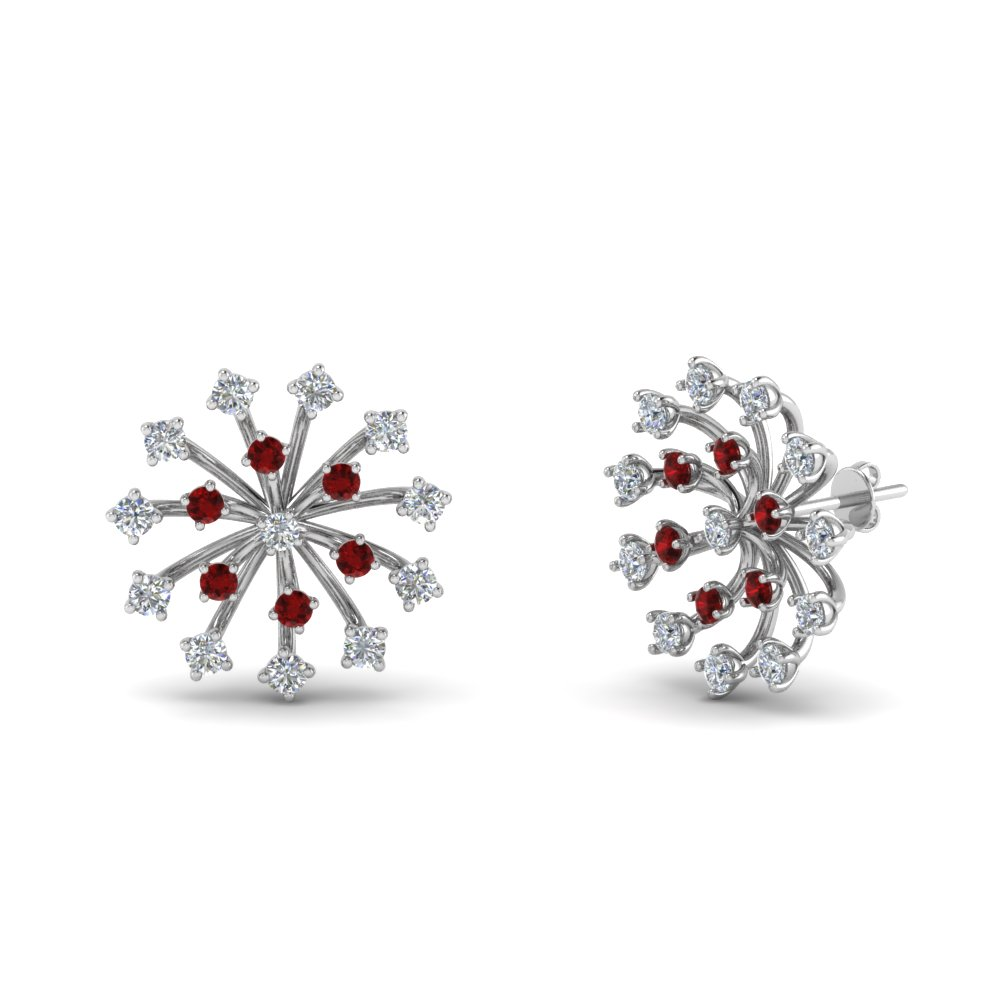 Floating Ruby Stud Earring