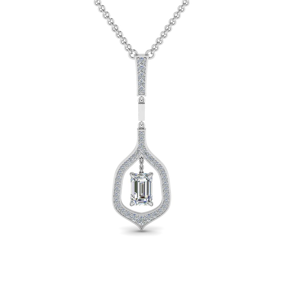 floating emerald cut drop diamond necklace in 14K white gold FDPD8489EM NL WG