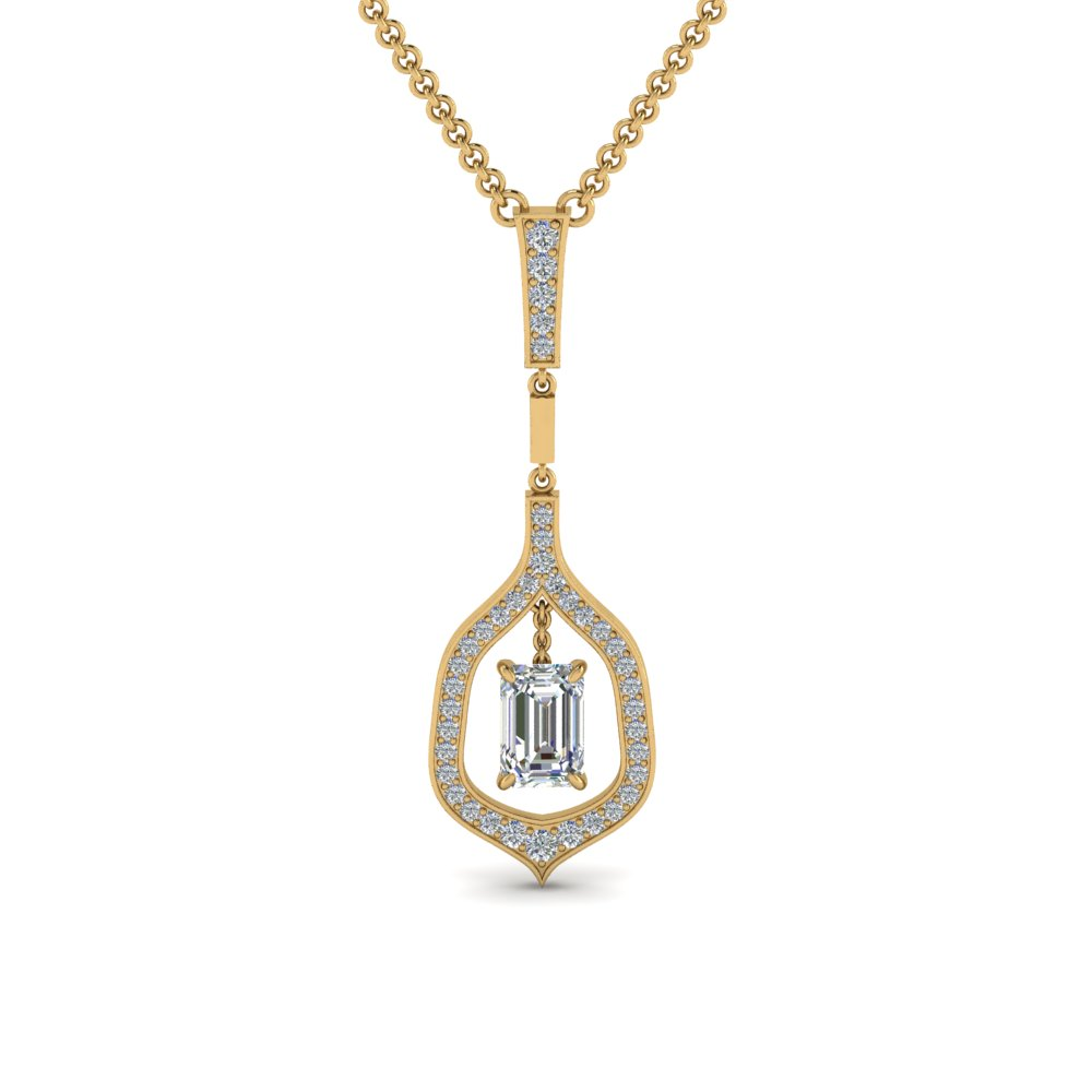 Floating Emerald Cut Drop Necklace
