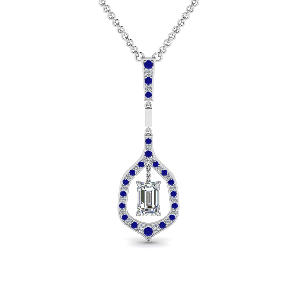 floating emerald cut drop diamond necklace with sapphire in FDPD8489EMGSABL NL WG