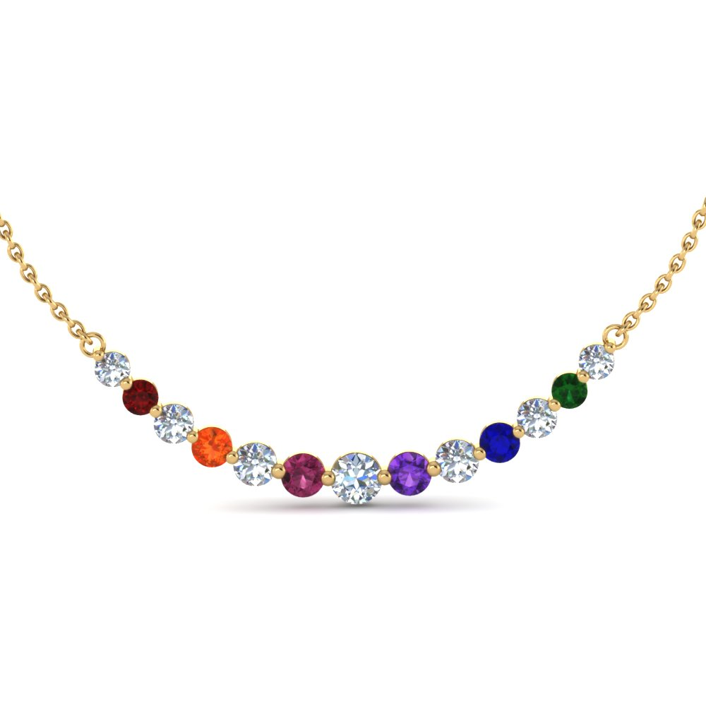 Floating Graduated Gemstone Necklace