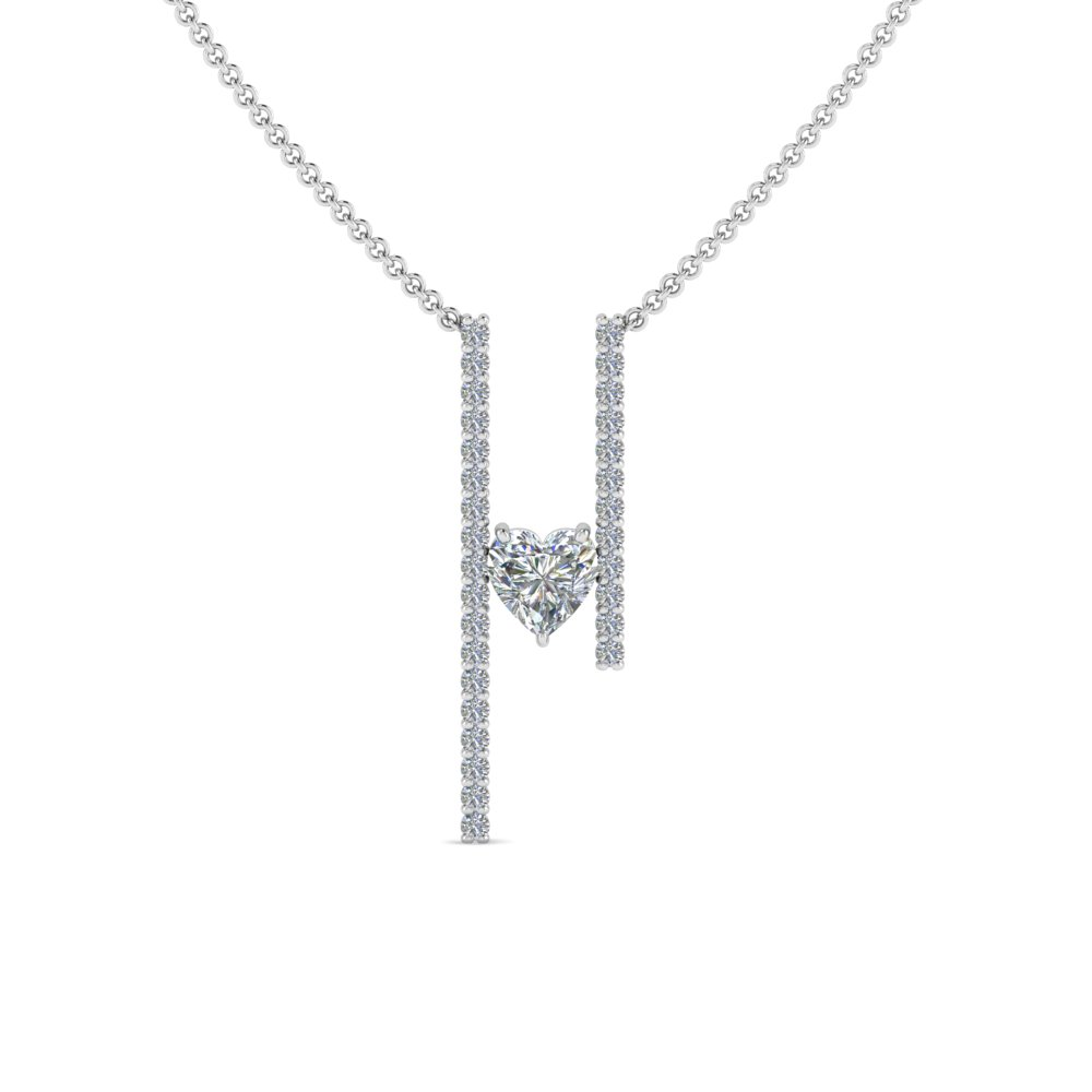 floating heart diamond bar necklace in FDPD8492HTANGLE2 NL WG