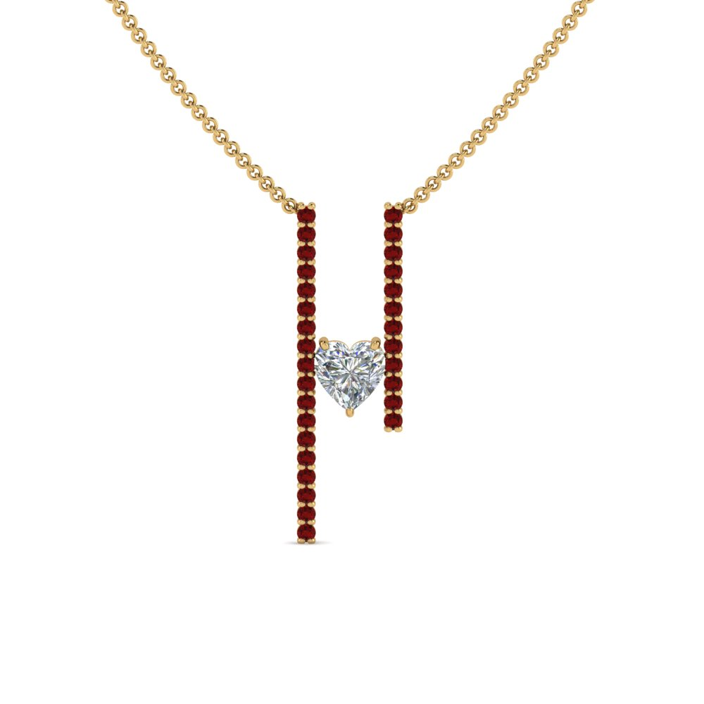 Ruby Heart Bar Necklace
