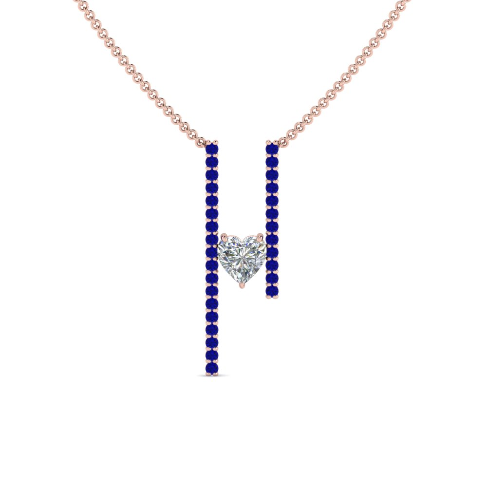 floating heart diamond bar necklace with sapphire in FDPD8492GSABLANGLE2 NL RG