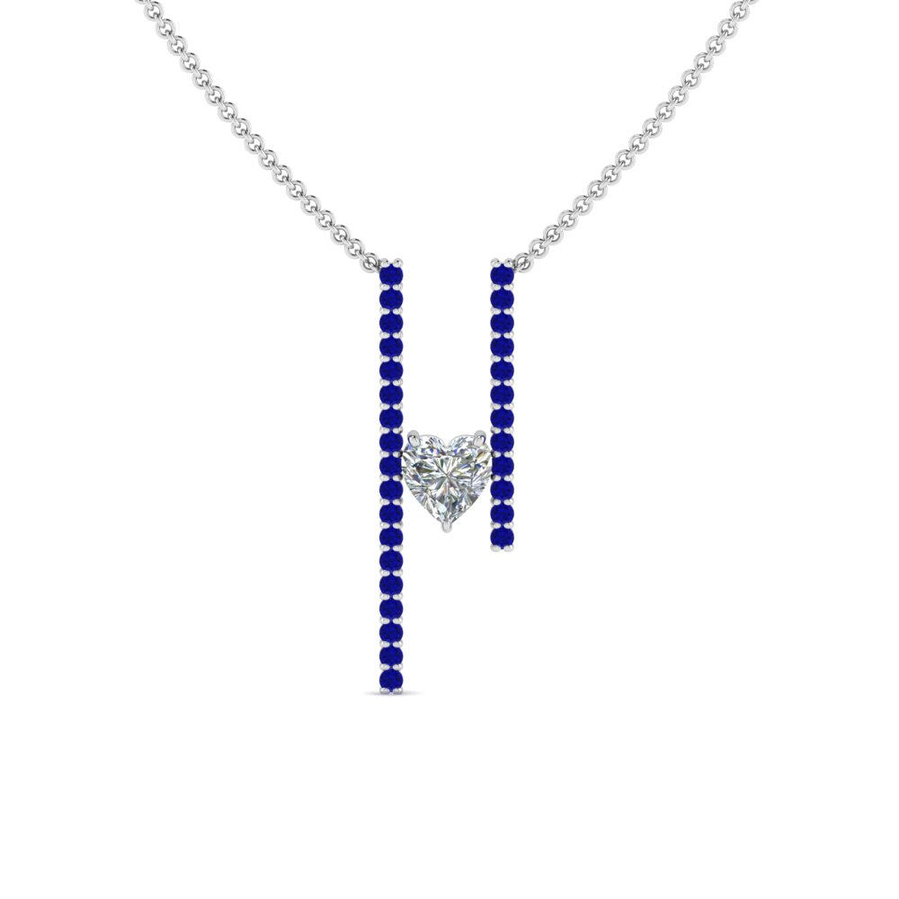 floating heart diamond bar necklace with sapphire in FDPD8492HTGSABLANGLE2 NL WG