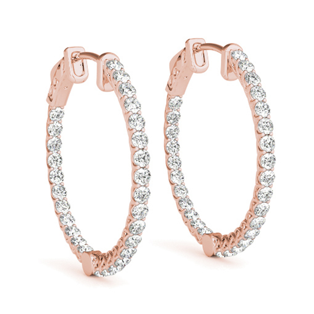 Floating Diamond Hoop Earring