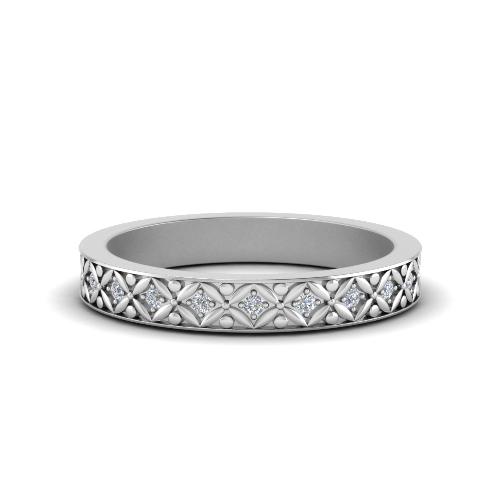 0.15 ct. floral carved diamond eternity band in FDEWB8646 NL WG