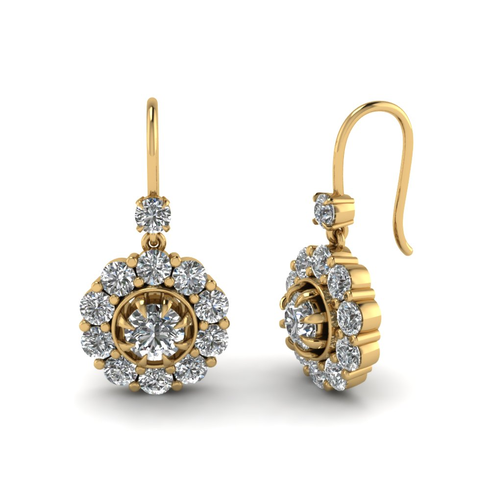 Round Diamond Dangle Earring